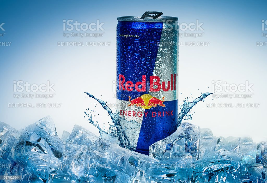 Aluminium can of Red Bull Energy drink iced Background stock photo