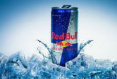 Aluminium can of Red Bull Energy drink iced Background