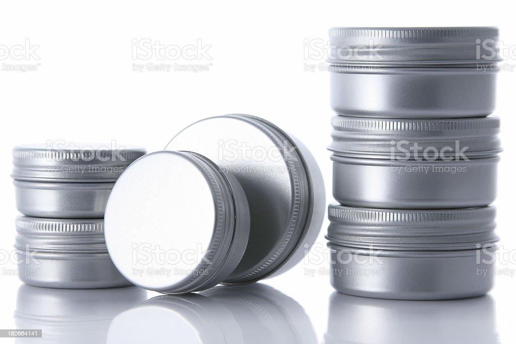 Aluminium cans [two stacks] stock photo