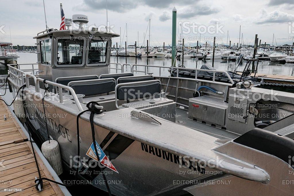 Aluminium Fishing Vessel Seen Moored, Salem, MA stock photo