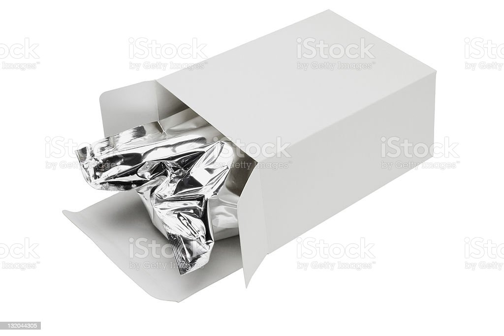 Aluminium foil bag in paper box royalty-free stock photo