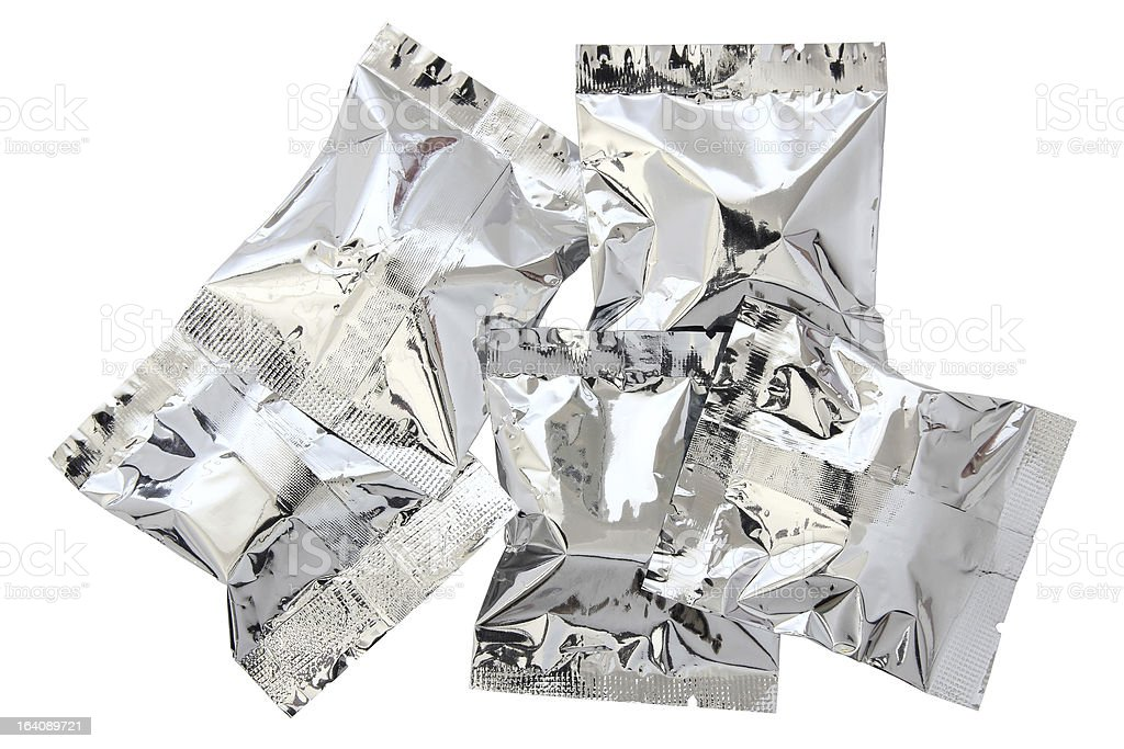 Aluminium foil bag package (clipping path) royalty-free stock photo