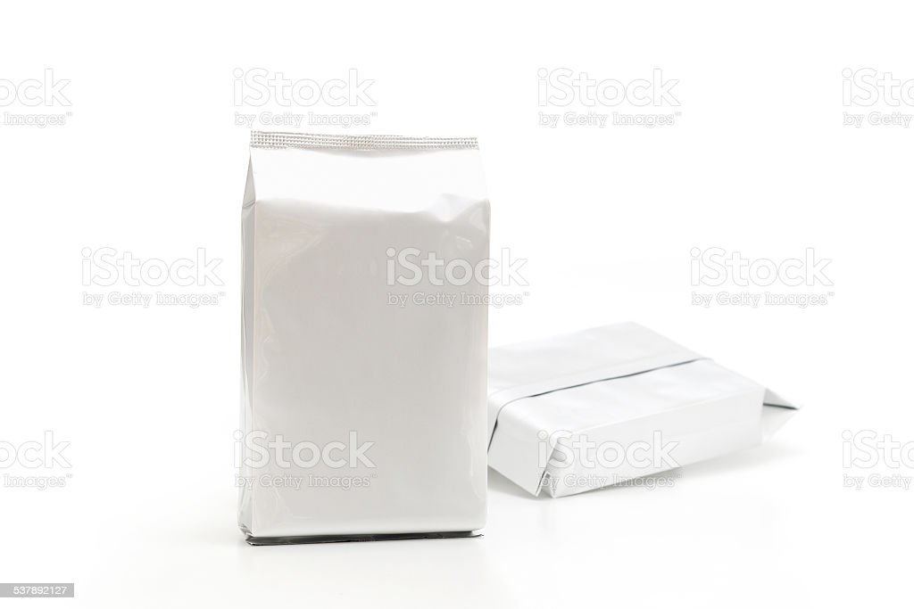 Aluminium foil package isolated on white background stock photo