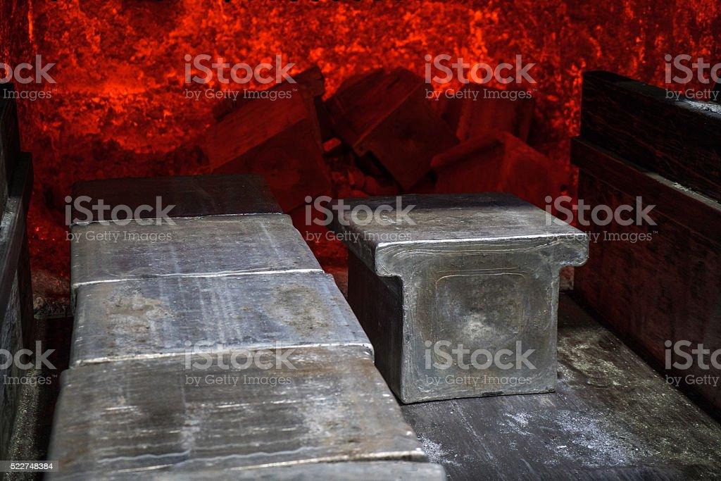 Aluminium furnace in factory stock photo