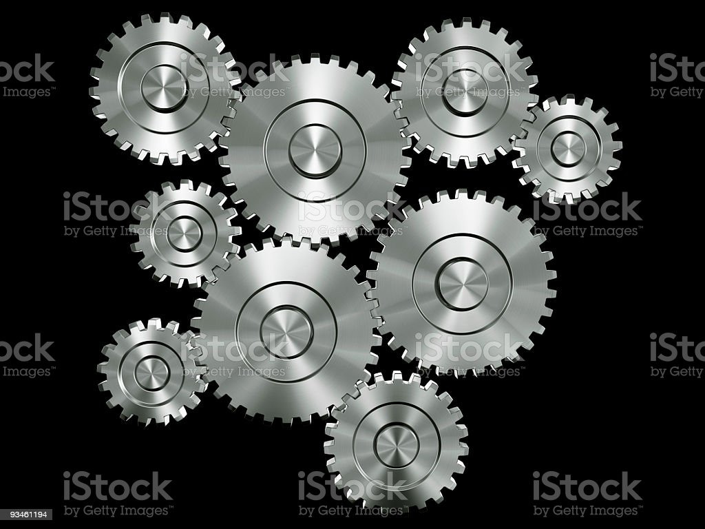 aluminium gears stock photo
