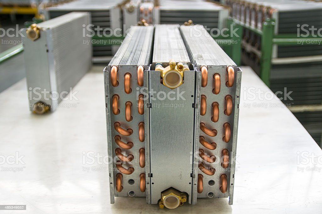 Aluminium heat exchanger stock photo