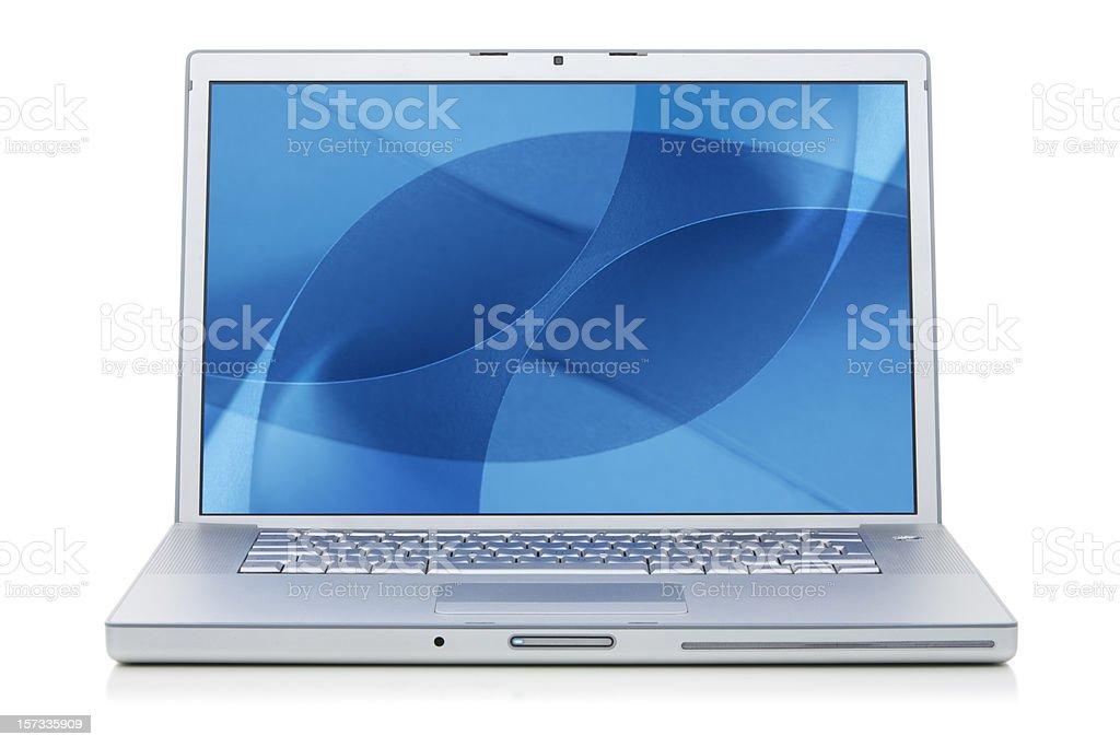 Aluminium Laptop with desktop stock photo