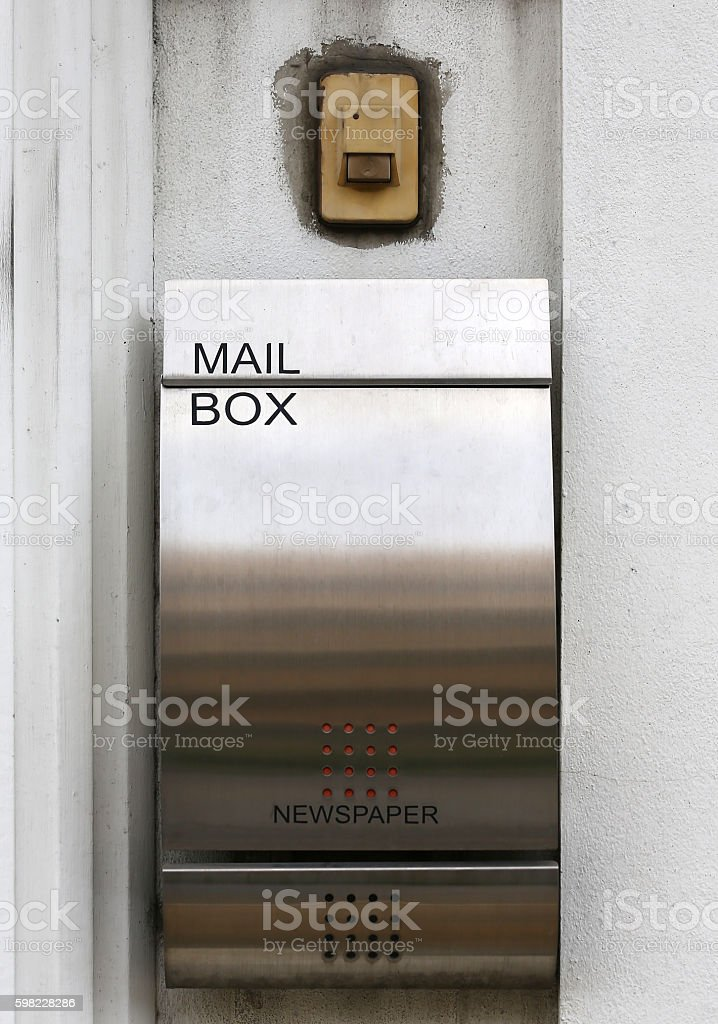 aluminium mailbox and bell switch on wall stock photo