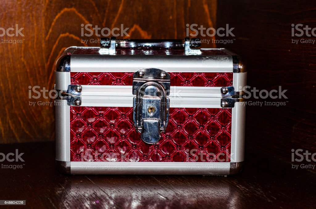 Aluminium make-up case or jewellery accessories box stock photo