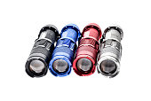 Aluminium metal LED flashlight torch isolated on white backgroun