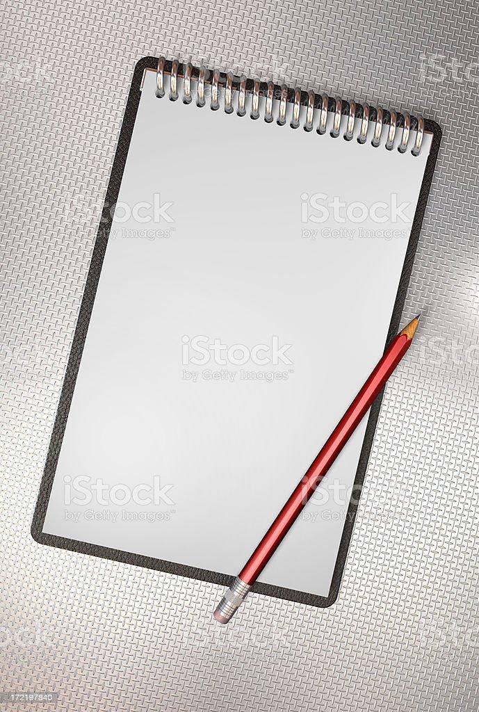 Aluminium note book stock photo