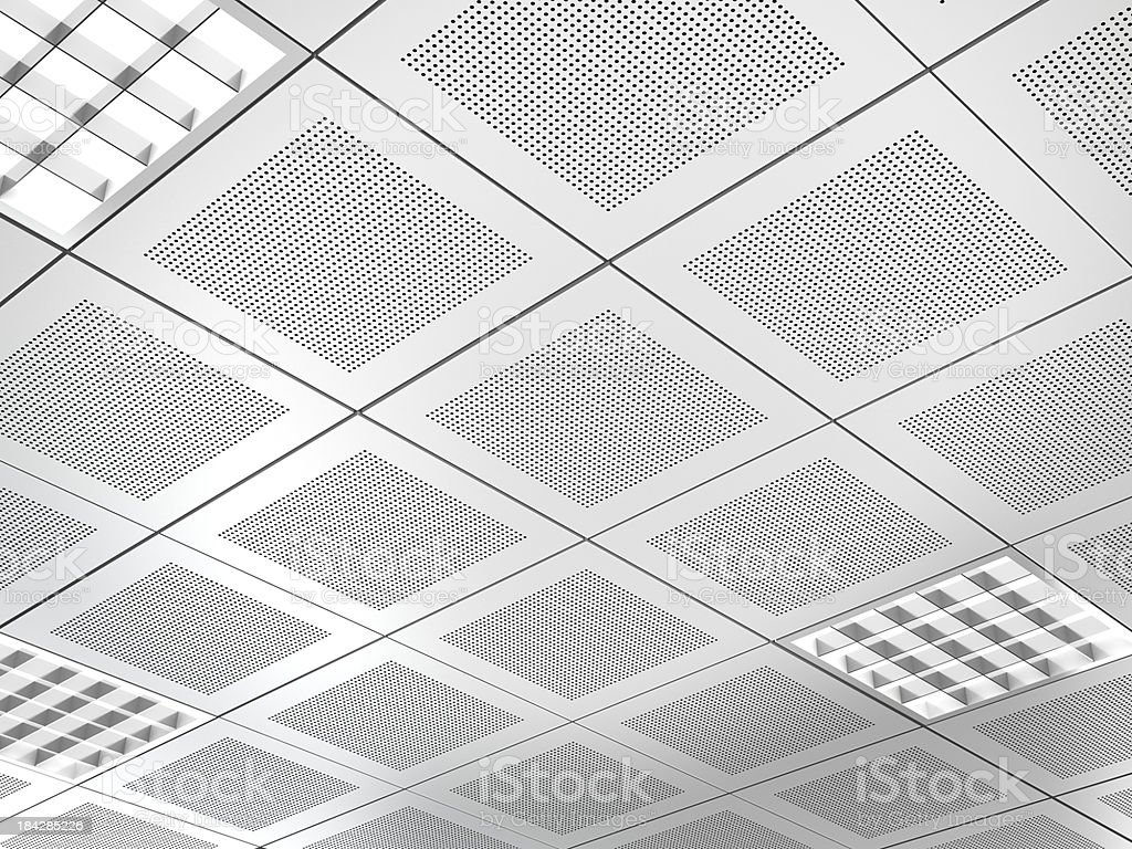 Aluminium panel suspended ceiling stock photo