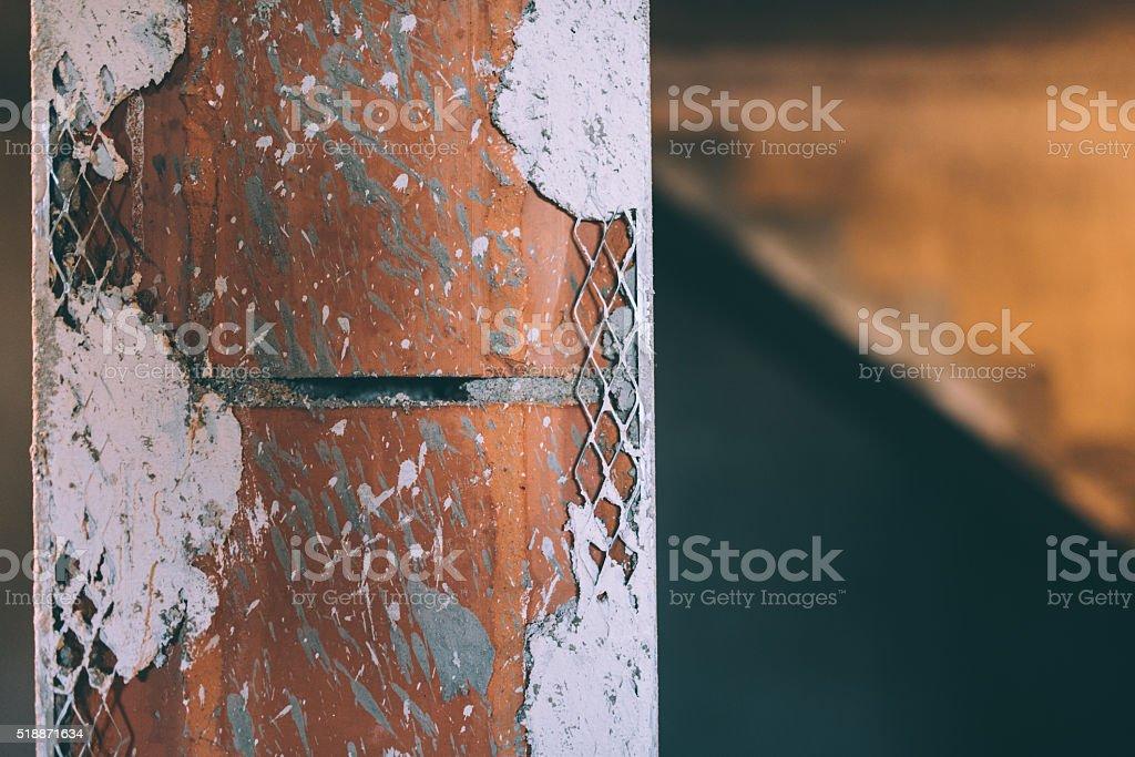 aluminium perforated corner bead. Plastering corner and walls stock photo