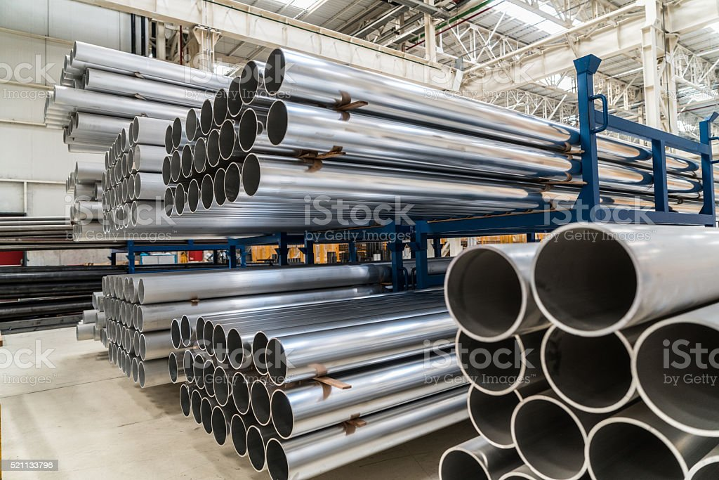 Aluminium Pipes stock photo