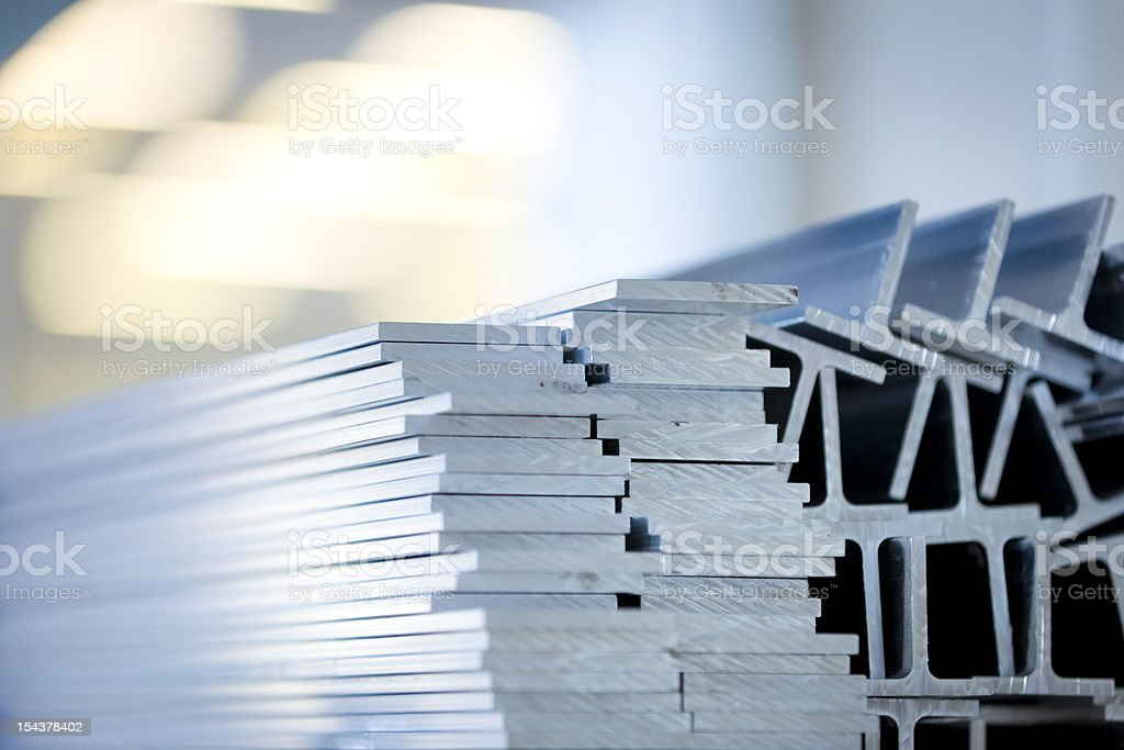 Aluminium profiles in warehouse stock photo