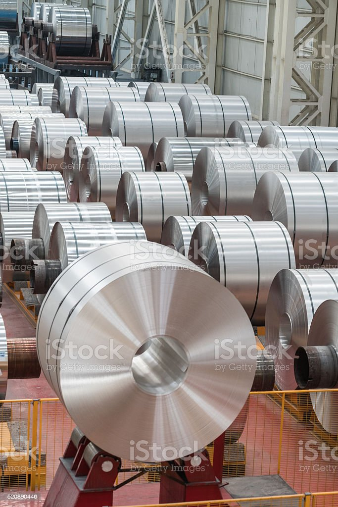 Aluminium steel rools stock photo