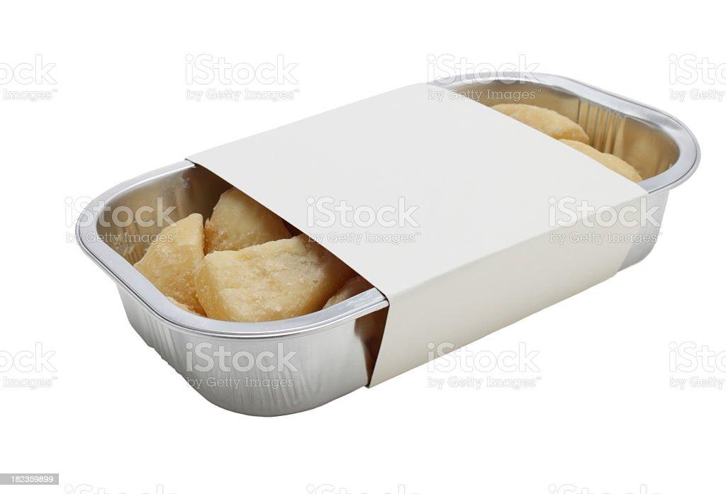 aluminium tray of roast  potato with blank cardboard sleeve stock photo