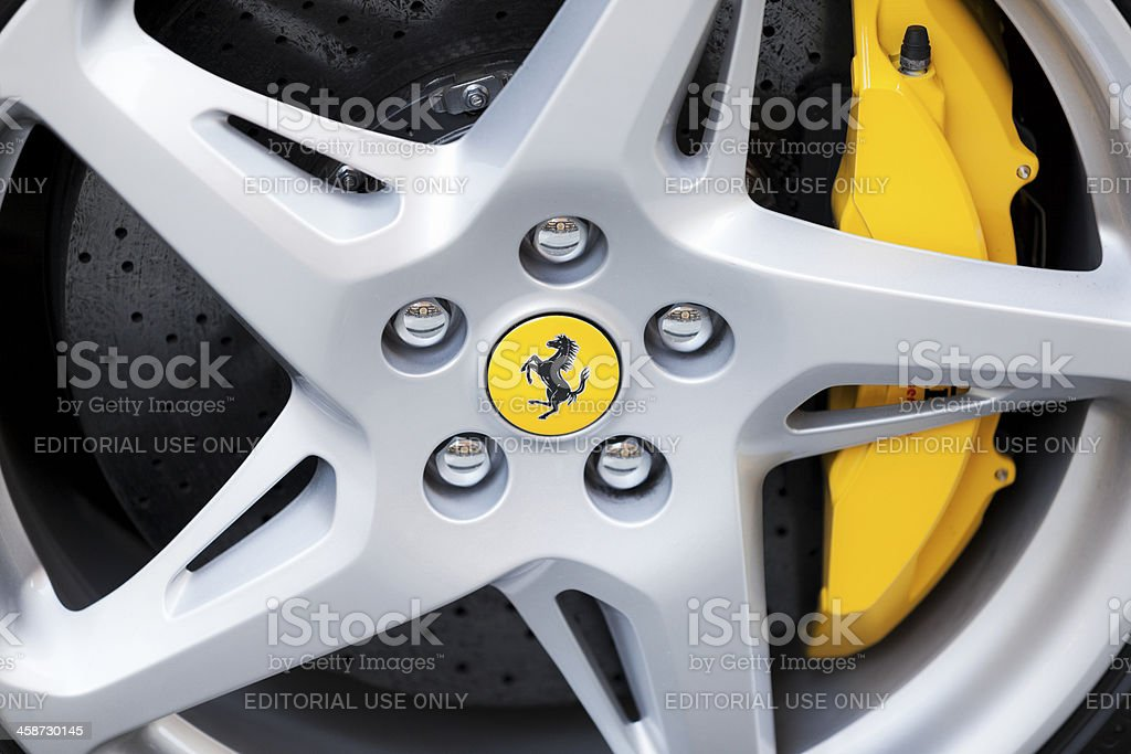Aluminium wheel with yellow Ferrari logo. royalty-free stock photo