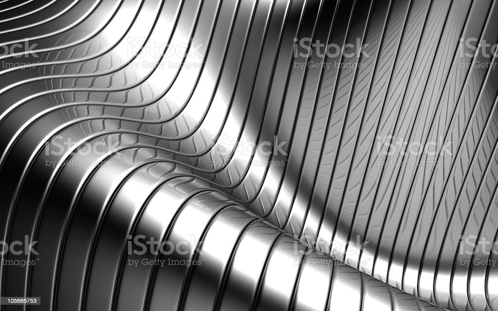 Aluminum abstract silver stripe wave shape background stock photo