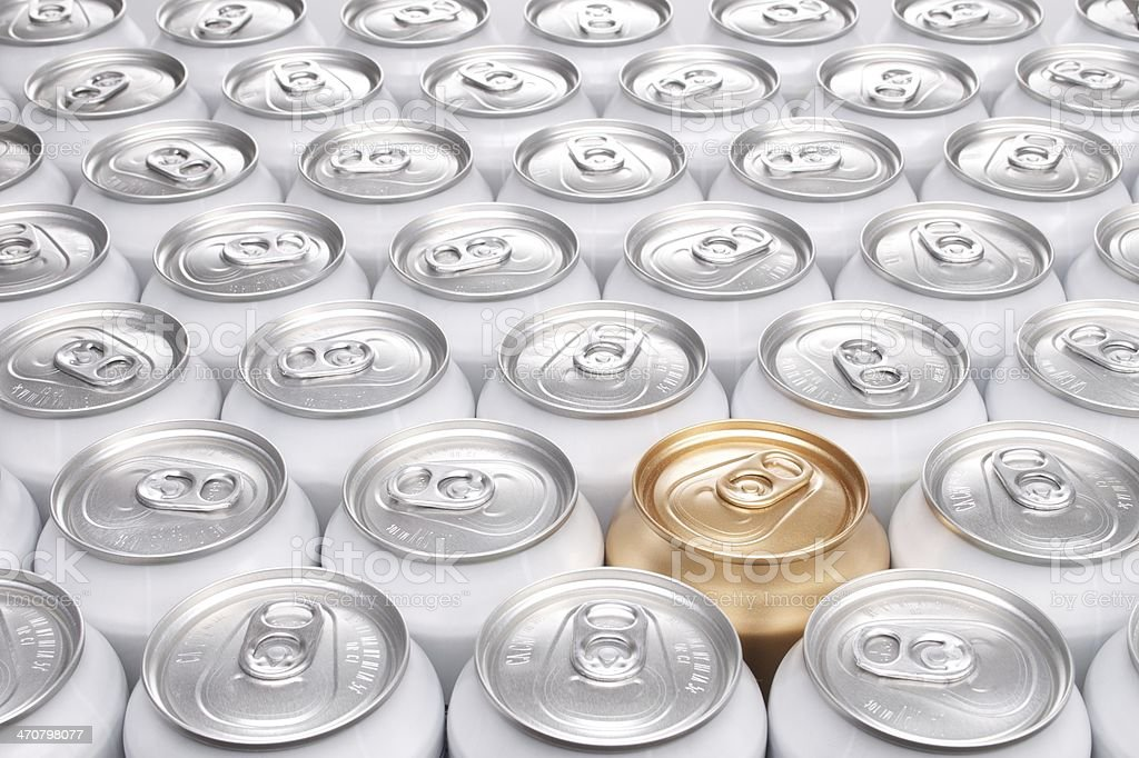 Aluminum Beverage Cans with One Gold Can stock photo