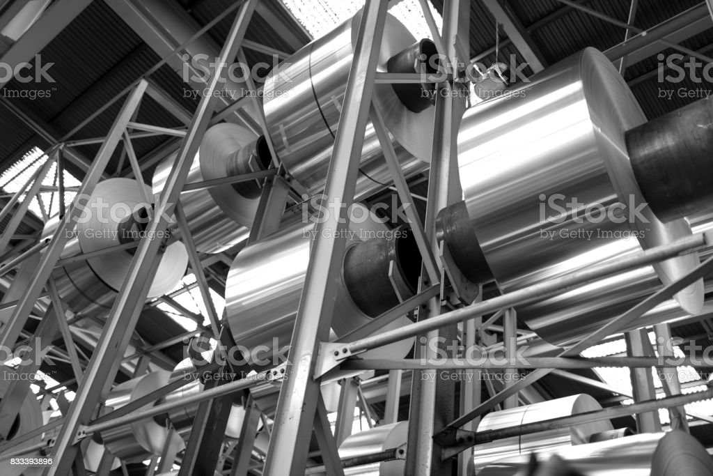 aluminum big coils stacked stock photo