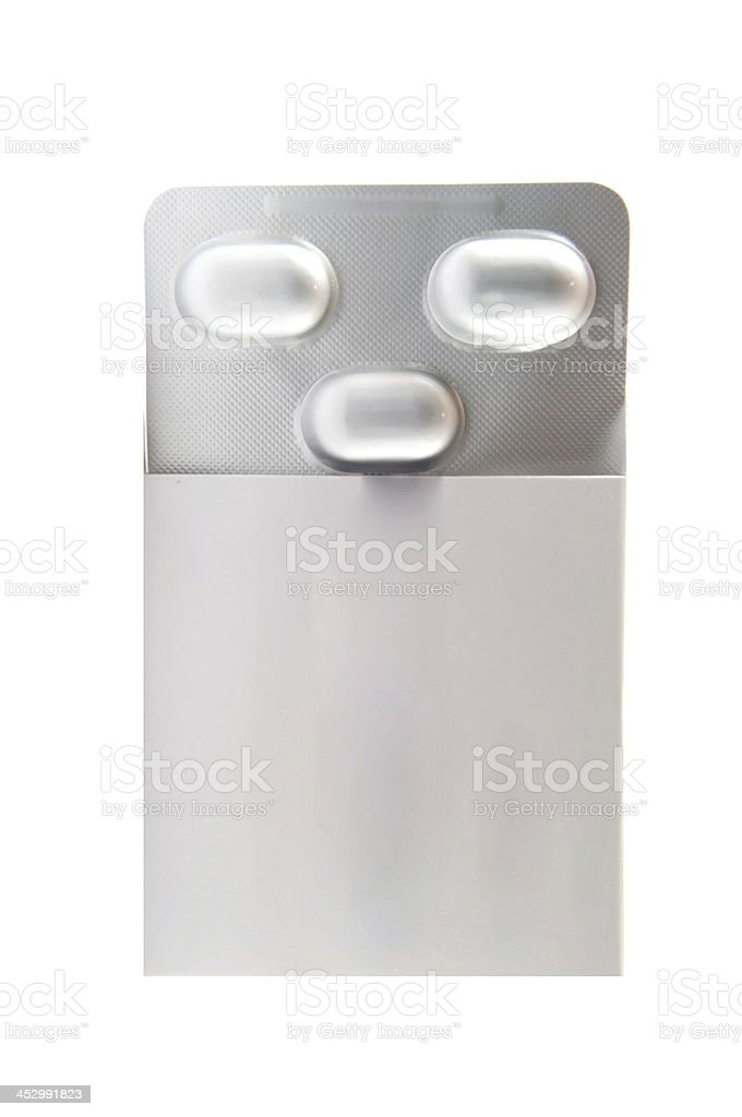 Aluminum blister pack in packing box royalty-free stock photo