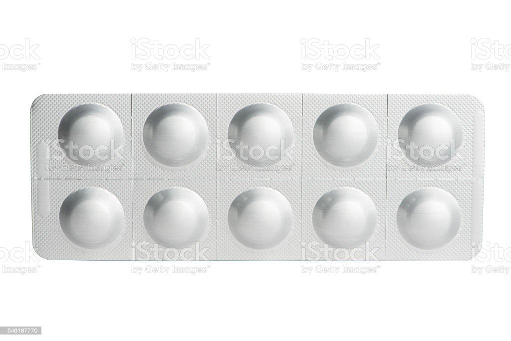 Aluminum blister pack of tablet stock photo