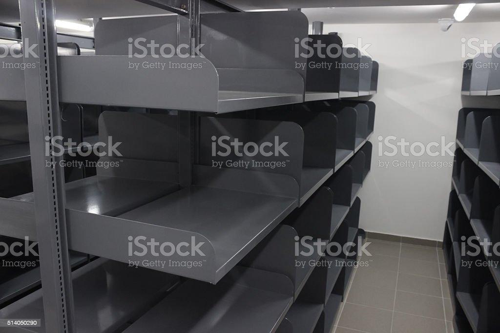 Aluminum book racks stock photo