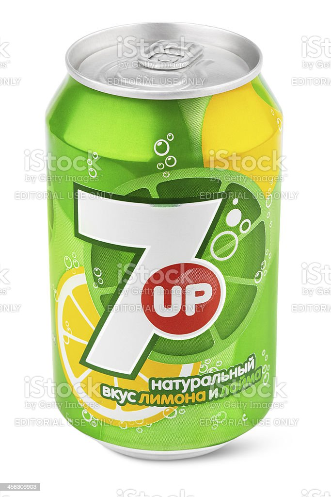 Aluminum can of 7up stock photo