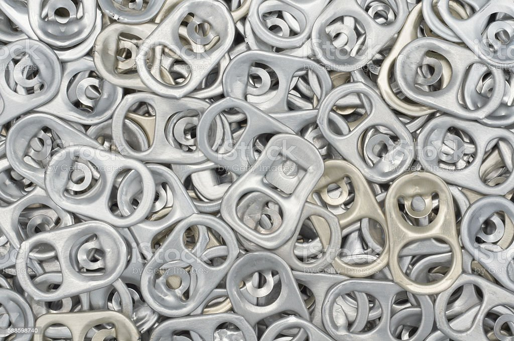 Aluminum can ring pull stock photo