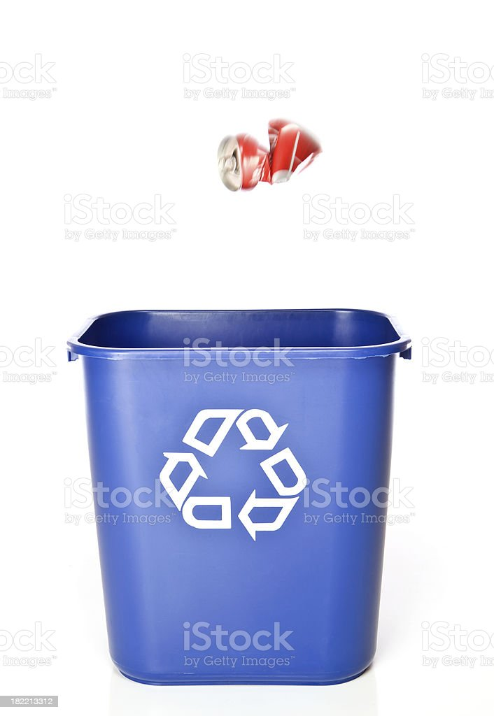 Aluminum Can Tossed Towards Recycling Bin royalty-free stock photo