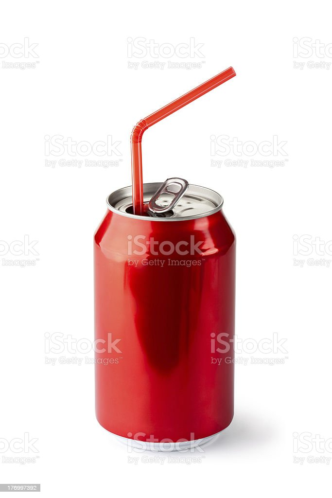 Aluminum can with the ring pull and straw stock photo