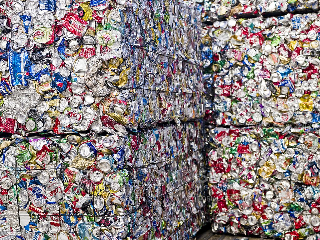 Aluminum cans ready for recycling stock photo