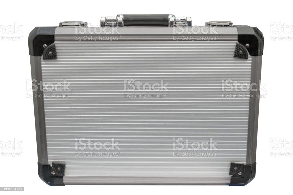 aluminum case isolated on white background stock photo