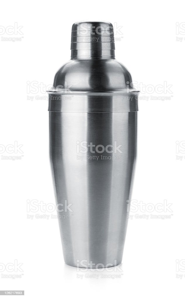 Aluminum cocktail shaker with a white background stock photo