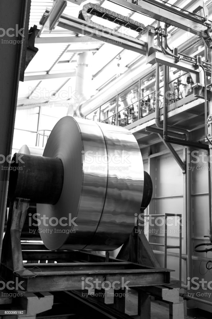 aluminum coils after heating process stock photo
