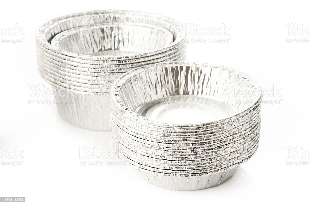 aluminum container on white background stock photo