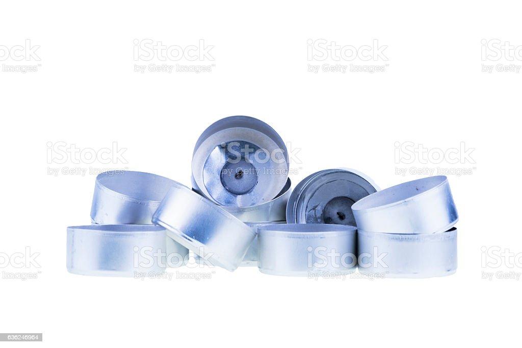 Aluminum Cups for Small Candles on White stock photo