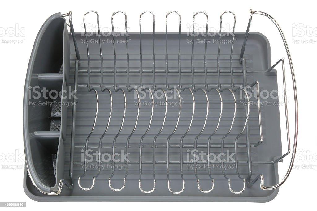 Aluminum dish rack shelf with a gray tray stock photo