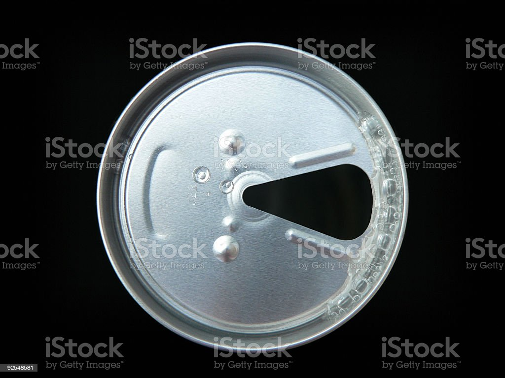 Aluminum Drink Can top with Fizz & clipping path stock photo