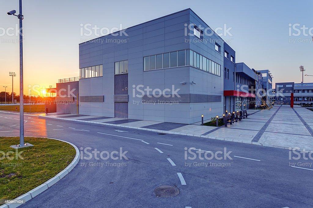 Aluminum facade on residential building stock photo