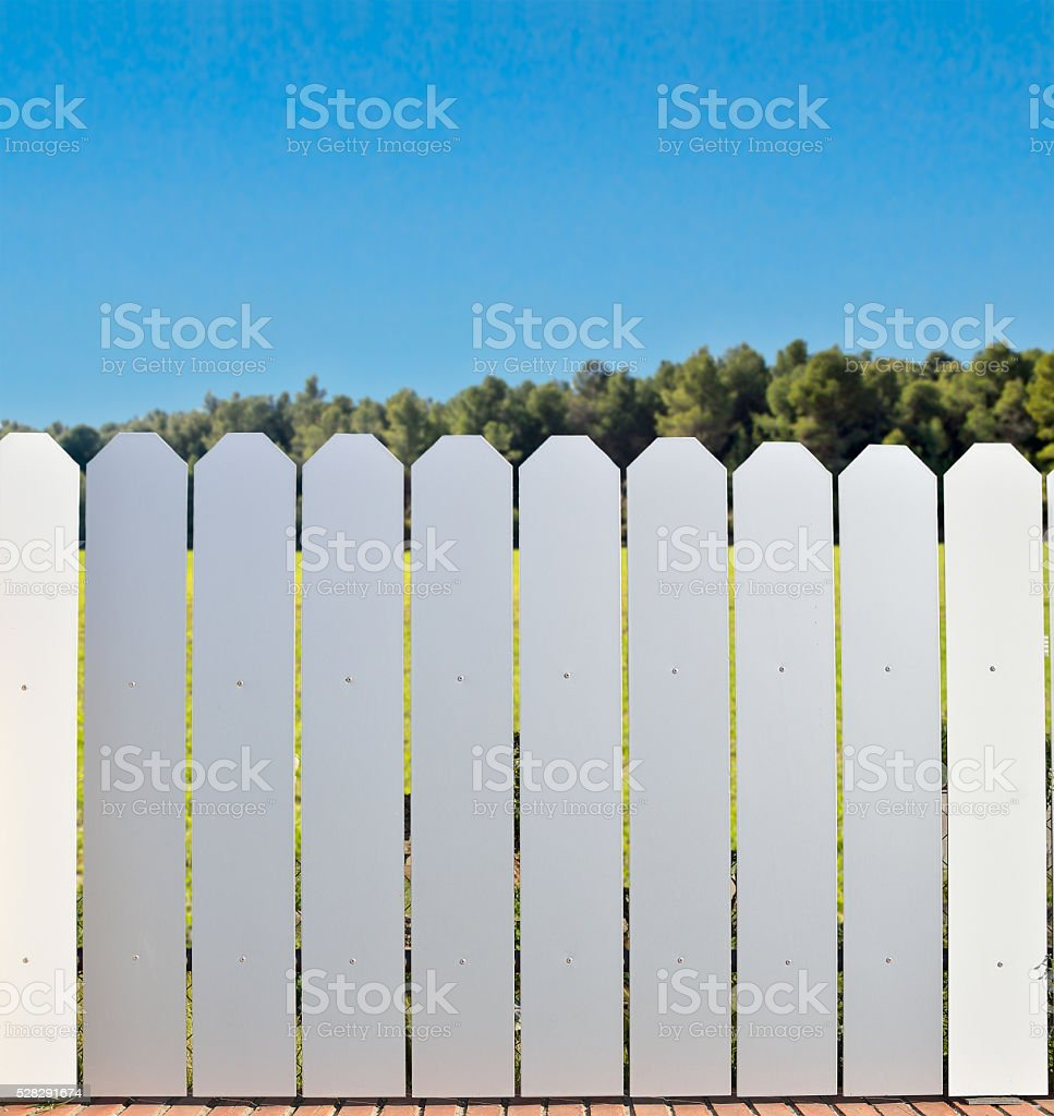 aluminum fence in countryside stock photo