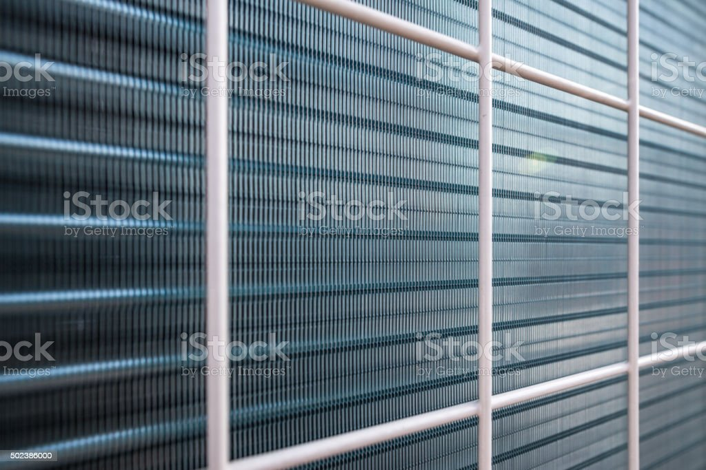 Aluminum fins of condensing unit for air condition stock photo
