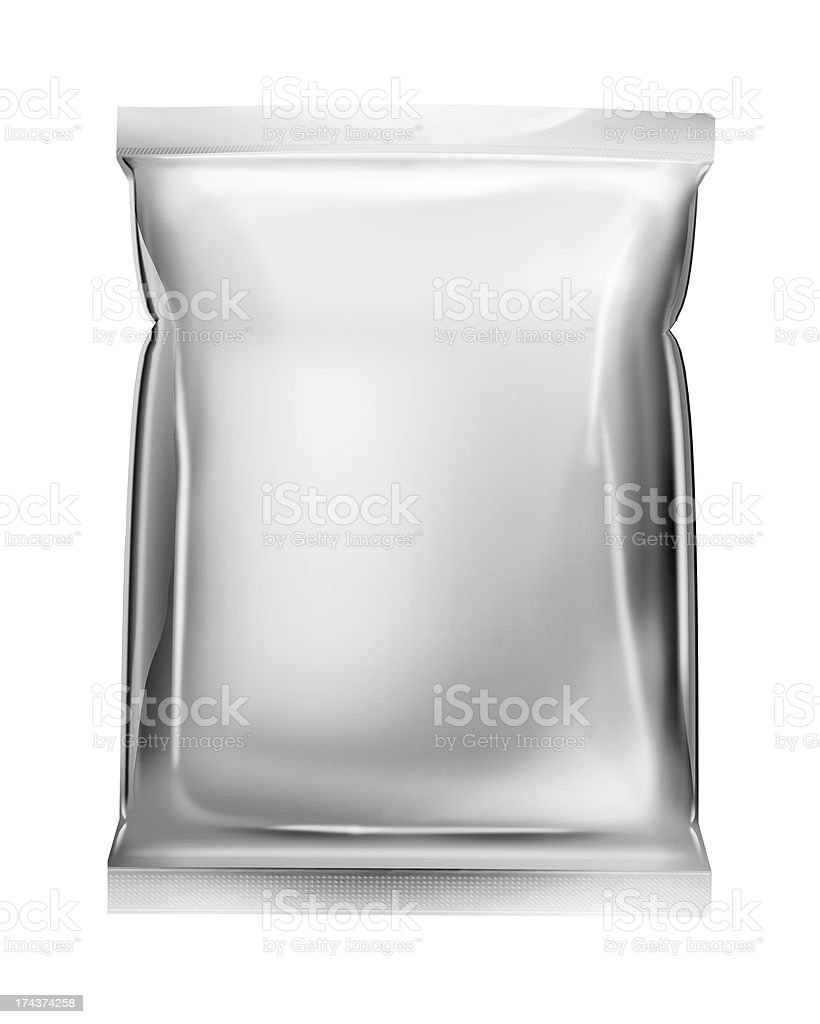 aluminum foil bag package isolated on white royalty-free stock photo