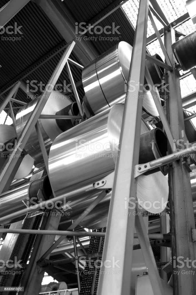 aluminum foil coils stacked stock photo