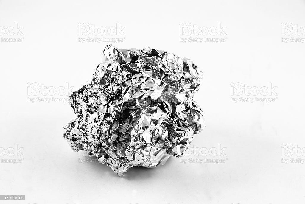 Aluminum foil on white stock photo