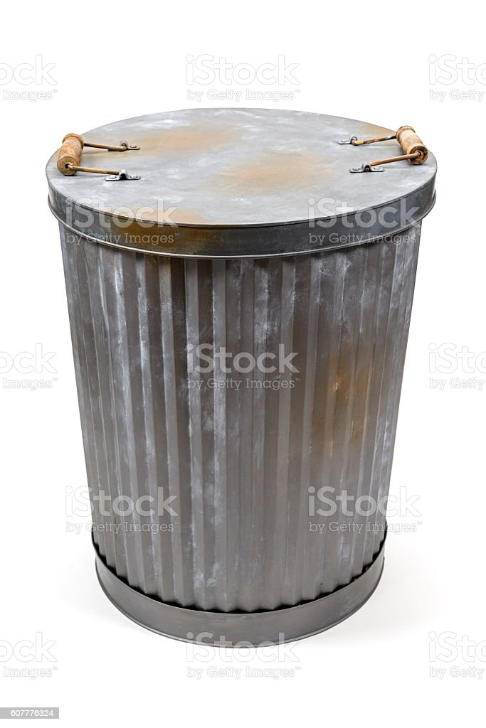 Aluminum garbage can stock photo
