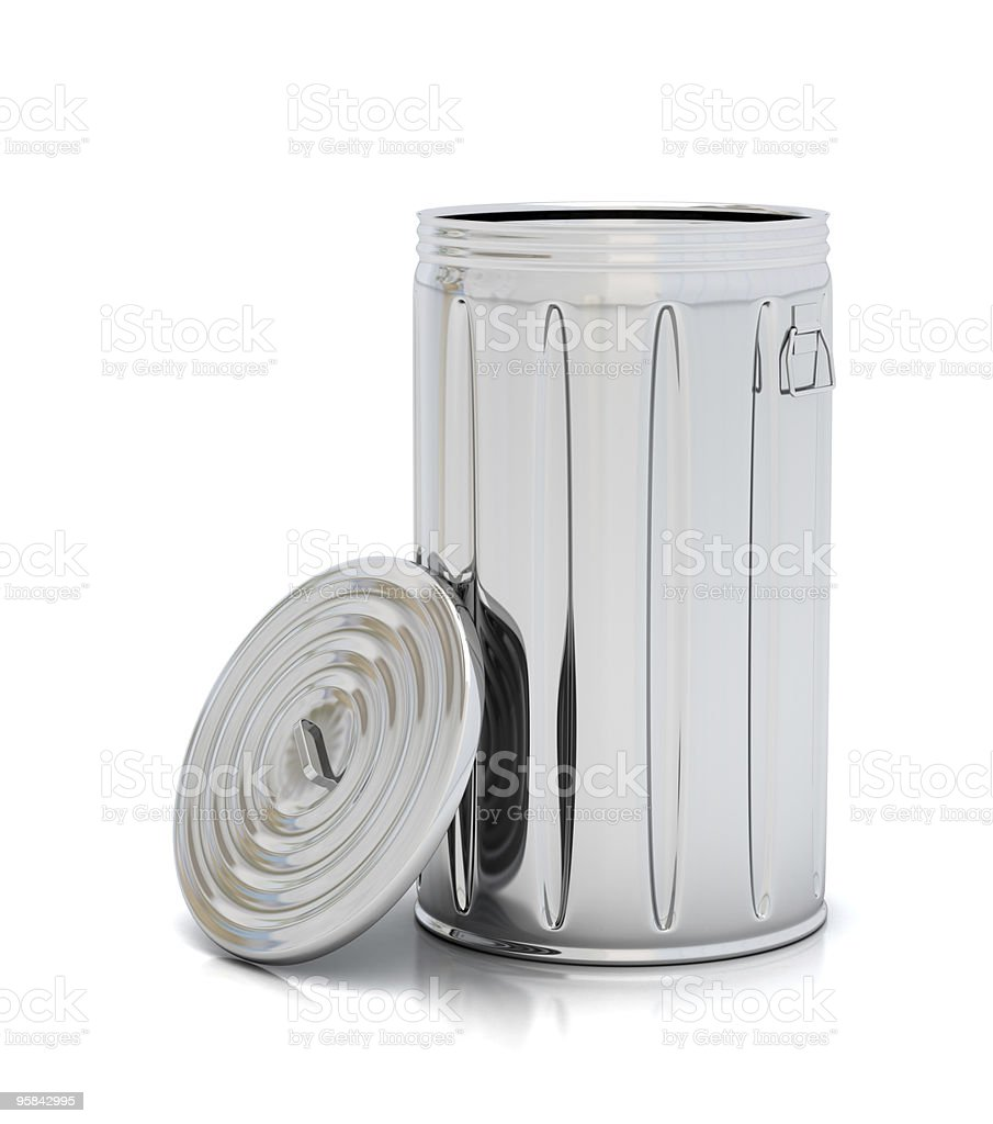 Aluminum garbage can with lid resting on the side on white stock photo