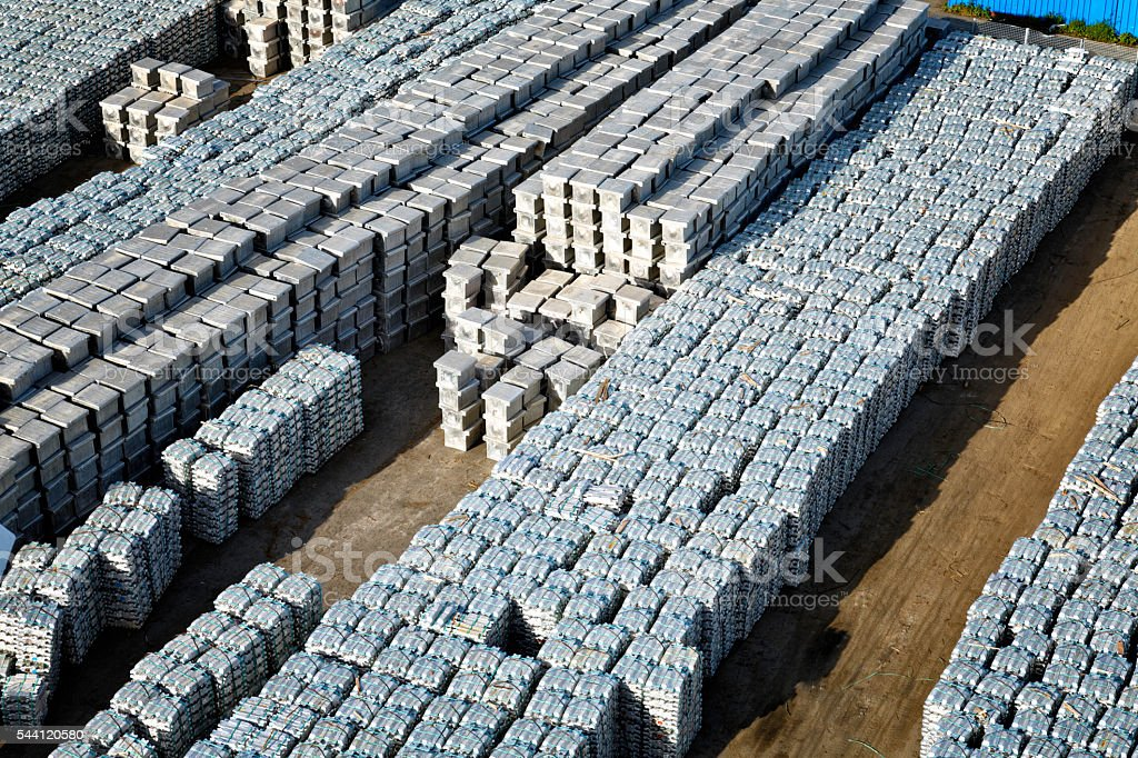 Aluminum ingots in harbor stock photo