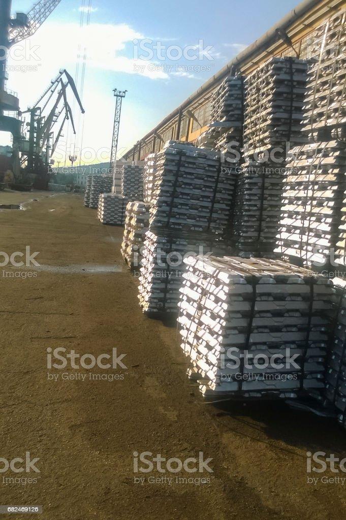 Aluminum ingots. Transportation of aluminum for export stock photo